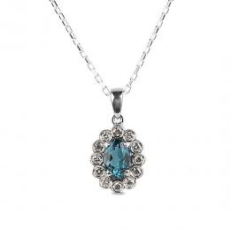 Pırlantalı Oval London Blue Topaz Kolye